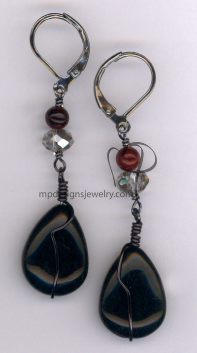 Midnight Tears ~ Black Red Gemstone Crystal Earrings