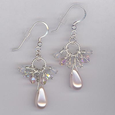 Cluster Crystal Earrings Pearl