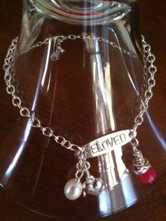 Beloved Hand Stamped Sterling Silver I.D. Charm Bracelet