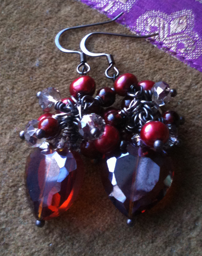 Passion ~ Red Heart Pearl Cluster Black Earrings