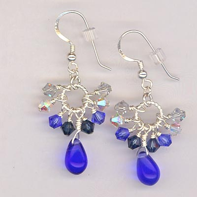 Cluster Crystal Earrings Sapphire Blue