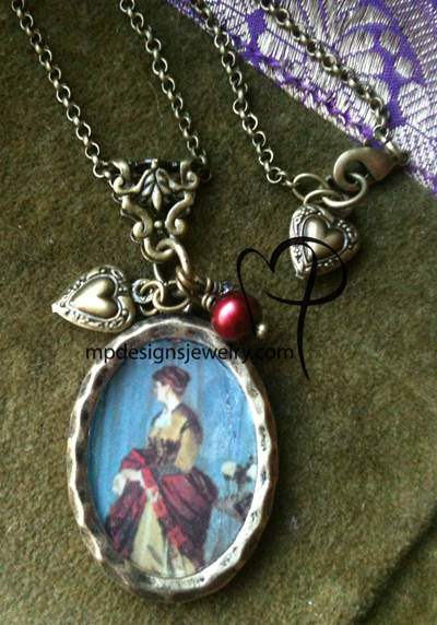 Lady In Red ~ Victorian Brass Charm Necklace