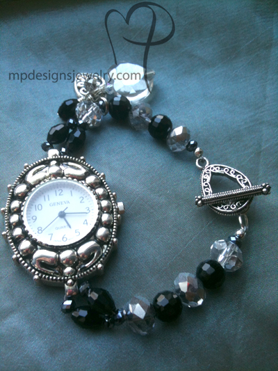 big, bold,beautiful large face chunky heart charm watch