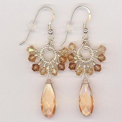 Cluster Crystal Earrings Topaz