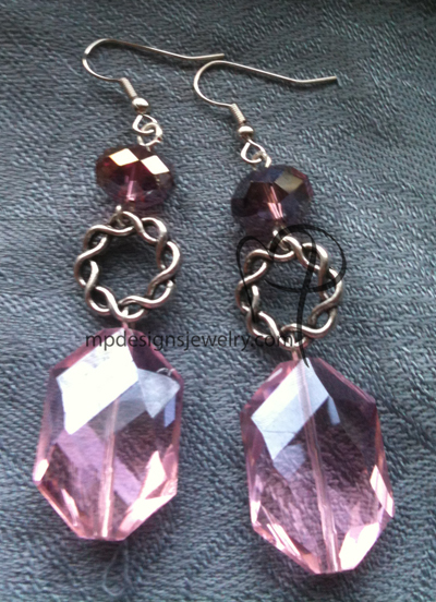 big bold beautiful pinkpurple twisted ring earrings