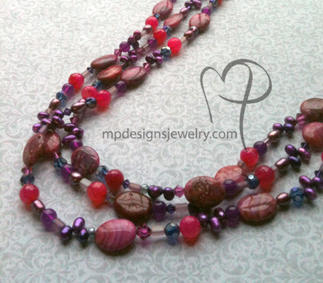 Cabaret ~ Gemstone Pearl Crystal Triple Strand Necklace