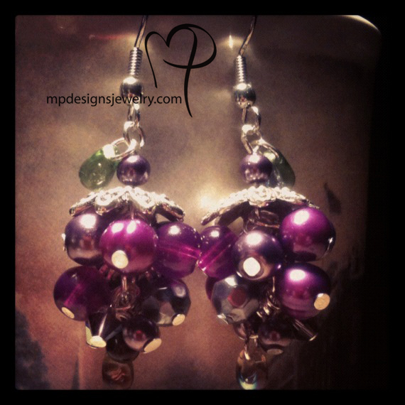 Peal My A Grape! Crystal Pearl Cluster Earrings