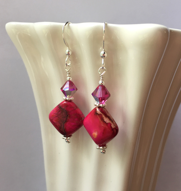 crazy lace agate pink fuchsia earrings