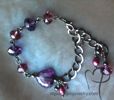 Passion ~ Purple Crystal Heart Pearl Cluster Bracelet