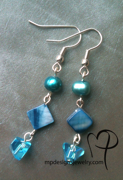 Caribbean Blue Pearl Dangle Earrings