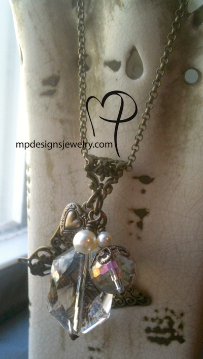 vintage champagne crystal butterfly charm necklace full view