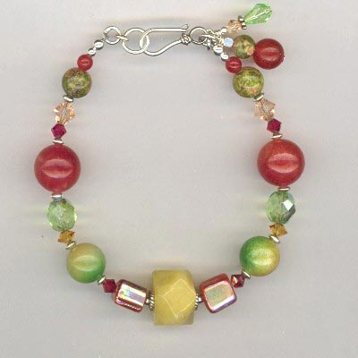 red jade mix bracelet