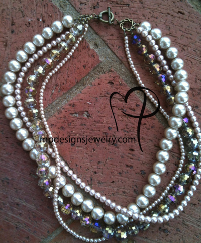 Lap of Luxury ~ Champange Layered Pearl Necklace