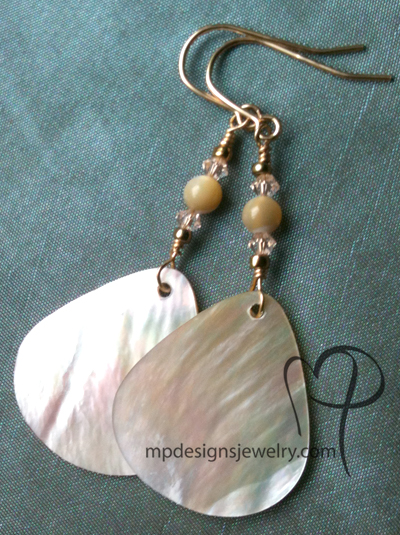 Golden Shore ~ Shell Crystal Gold-filled Earrings