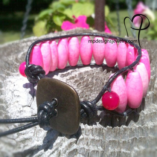 Pink Turquoise Leather Wrapped Beaded
