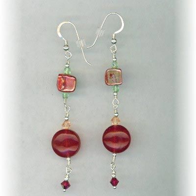 red jade mix earrings