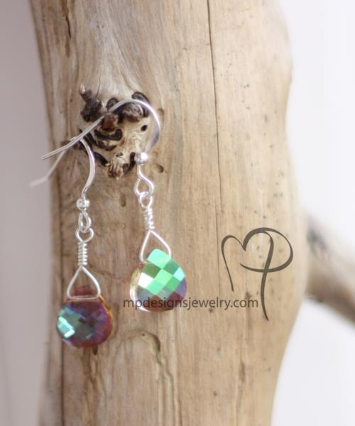 Swarovski Crystal Teardrop Sterling Silver Bridal Earrings