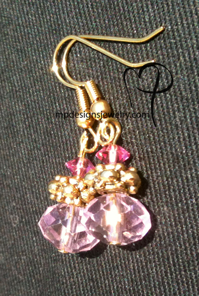 Pink Crystal Lux Gold Earrings