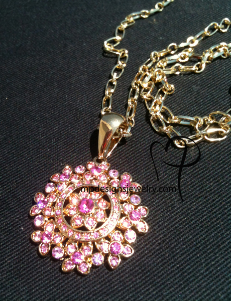 Pink Crystal Lux Gold Pendant Necklace