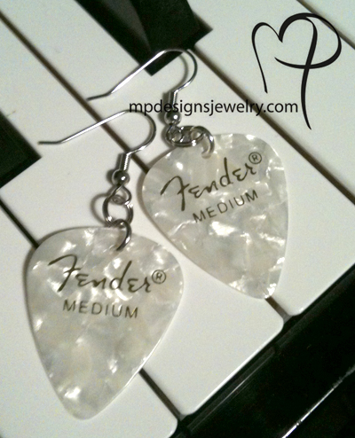 White Pearl Guitar Pick Earrings ~ Fender