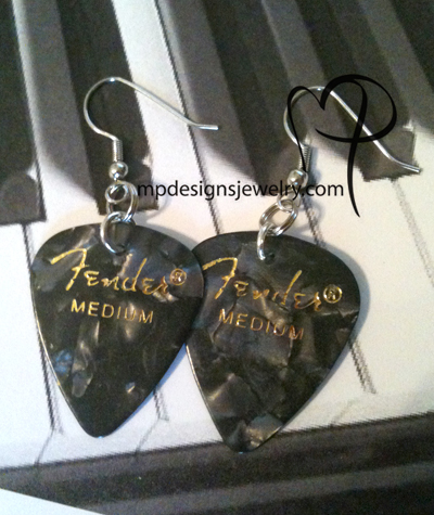Black Pearl Guitar Pick Earrings ~ Fender