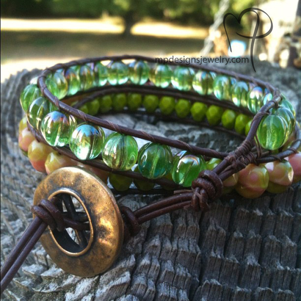Seasons Change ~ Leather Bracelet Triple Wrapped