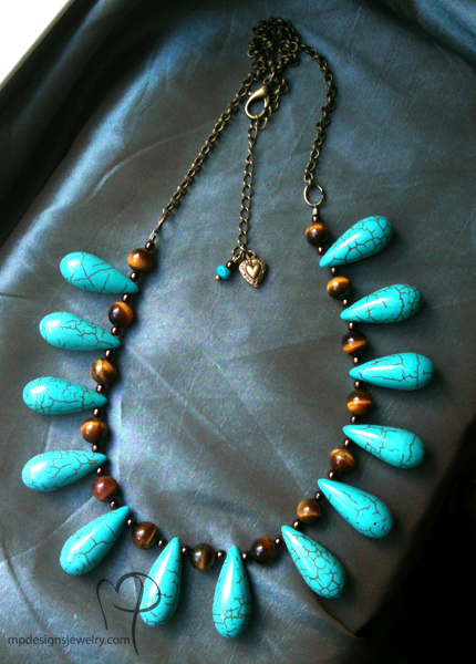 Joanna ~ Gemstone Teardrop Statement Necklace