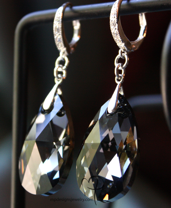 Samantha Swarovski Crystal Teardrop Elegant Bridal Earrings