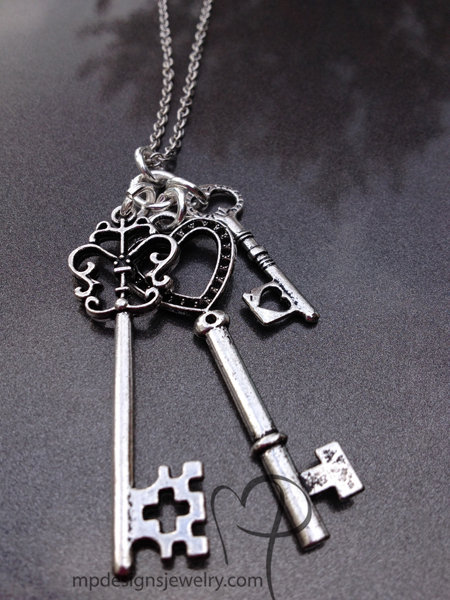 Silver Triple Key Charm Necklace
