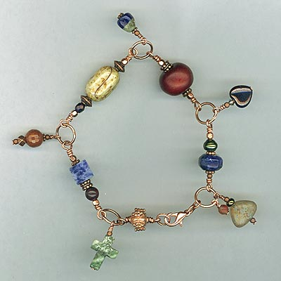copper gemstonecharm link bracelet