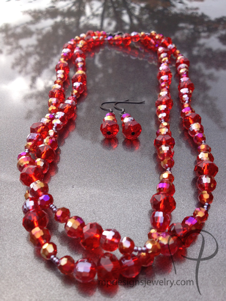 Christmas Crystal Sparkle ~ Red Necklace/Earring Jewelry Set