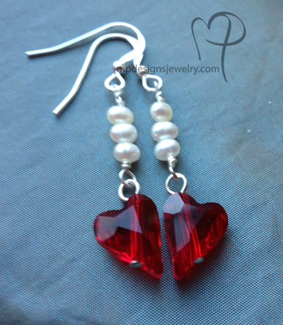 Pure Hearts! Red Swarovski Crystal White Pearl Sterling Silver Earrings