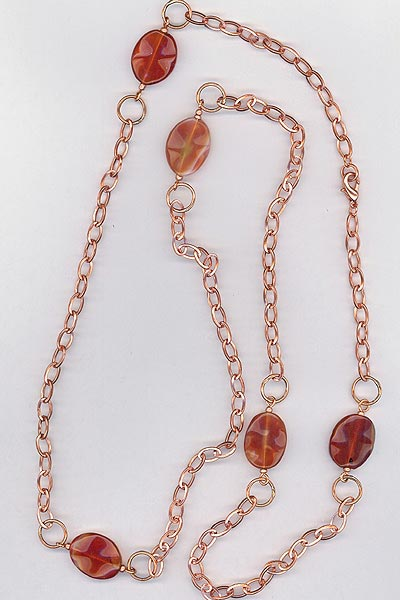 copper chain Carnelian necklace
