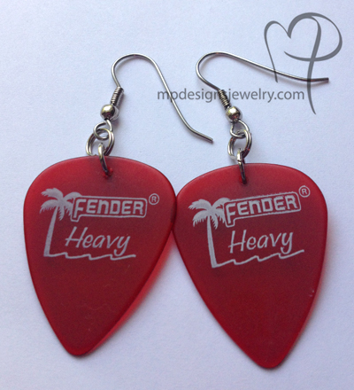Fender Red Palm Guitar Pick Earrings