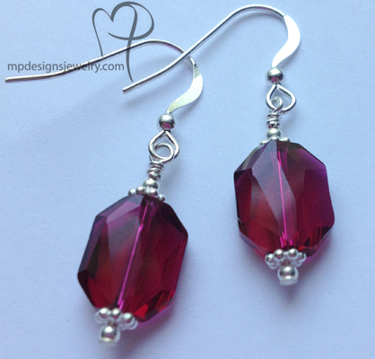 Ruby Swarvski Crystal  Earrings