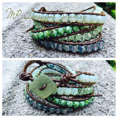 By the Sea - Leather Wrapped Bracelet