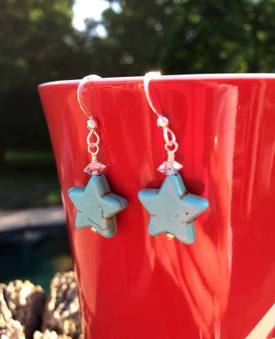 Stars ~ Turquoise Sterling Silver Earrings