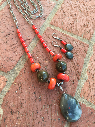 Coral Gemstone Pendant Necklace/Earrings Set
