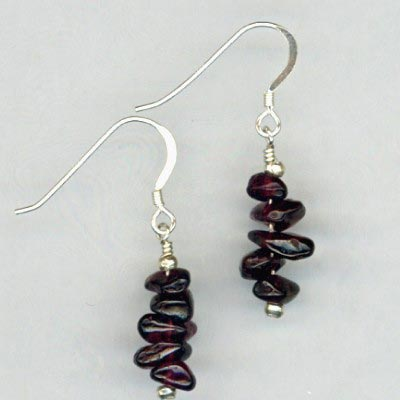 Garnet chip earrings