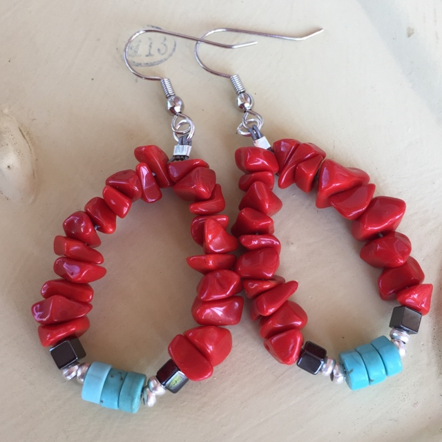 Boho coral Turquoise Heishi hoop Earrings