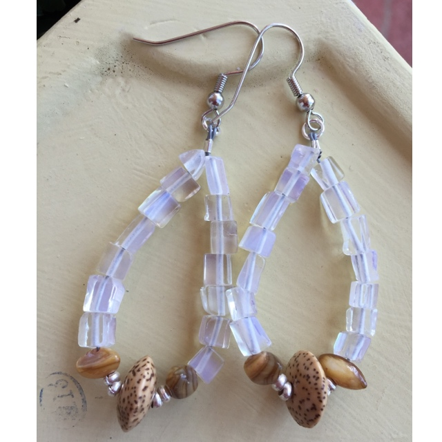 Boho Opalite Pearl hoop earrings