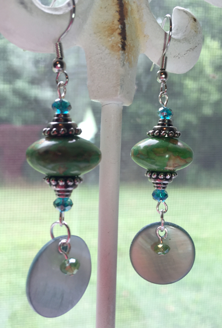 Turqquoise mosaic green blue shell dangle earrings