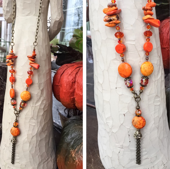 Orange Turquoise Gemstone Boho Tassel Necklace