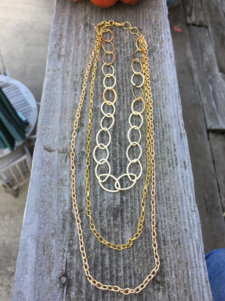 gold triple layered chain necklace