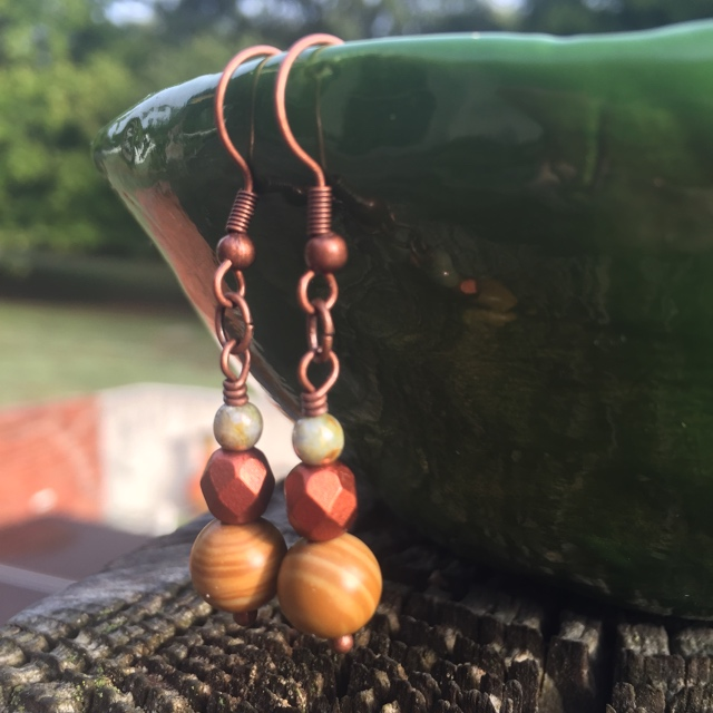 Falling Gold Triple Stack Copper Earrings