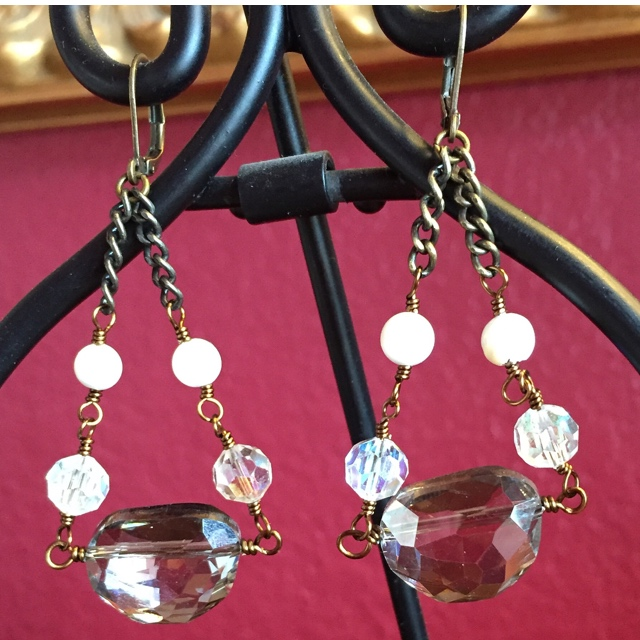 Vintage Crystal Pearl Antiqued Gold Chandelier Earrings
