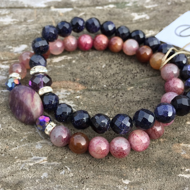 Midnight Passion ~ Purple Gemstone Crystal Stacking Stretchy Bracelet Set