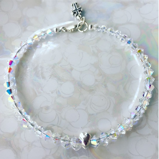 First Love Swarovski Crystal Tiny heart cross charm bracelet