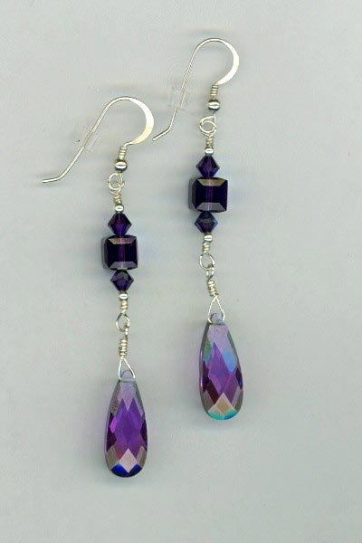 Purple Velvet CZ Crystal Earrings