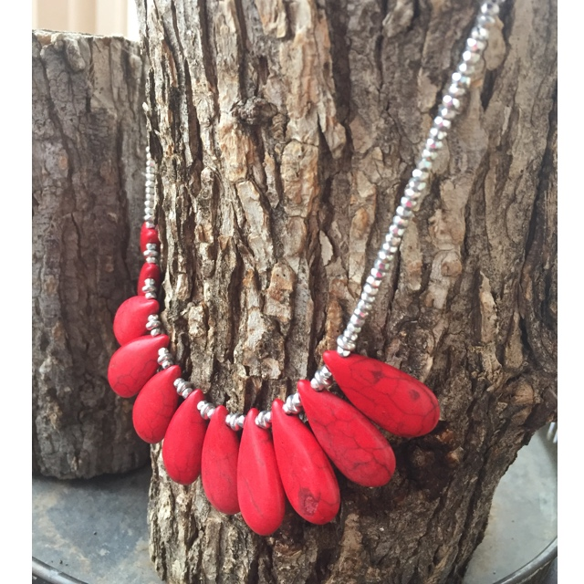 Red Turquoise Teardrop silver Statement necklace